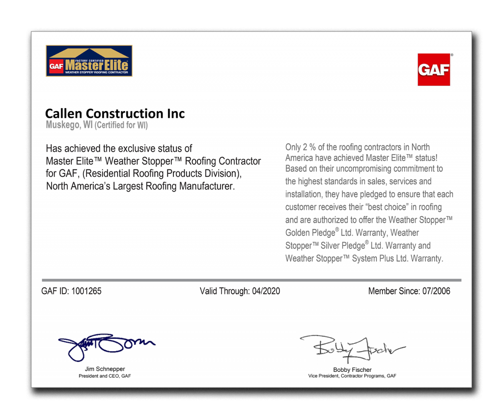 Callen Approved as GAF Master Elite Roofing Contractor
